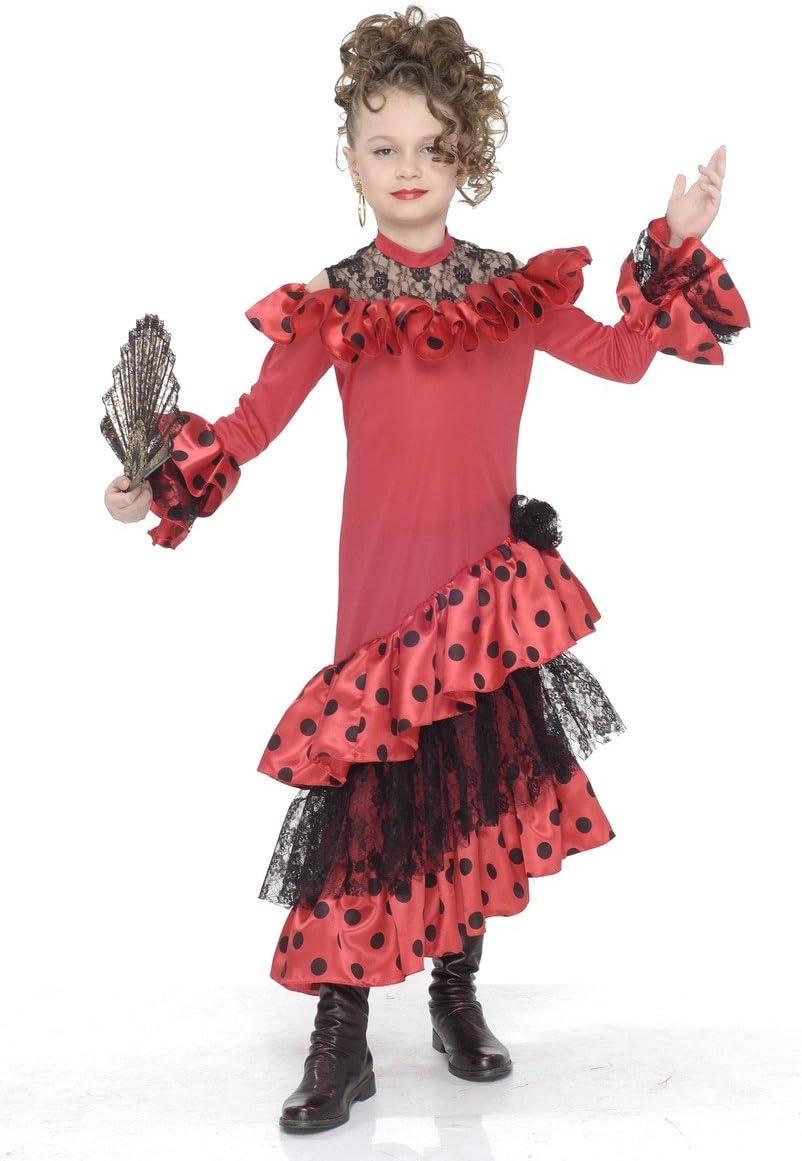 Disfraz de bailaora de flamenco para niña - De 4 a 5 años: Amazon ...