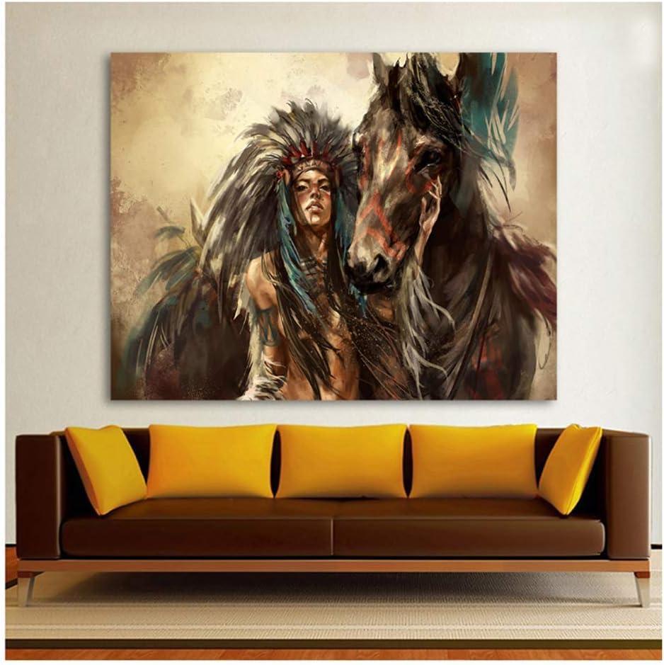 XuFan Plumas Indias Mujer Caballo Animales Modernos Cuadros de Arte de Pared para Sala de Estar decoración para el hogar Carteles HD Lienzo Pintura al óleo-50x60 cm sin Marco