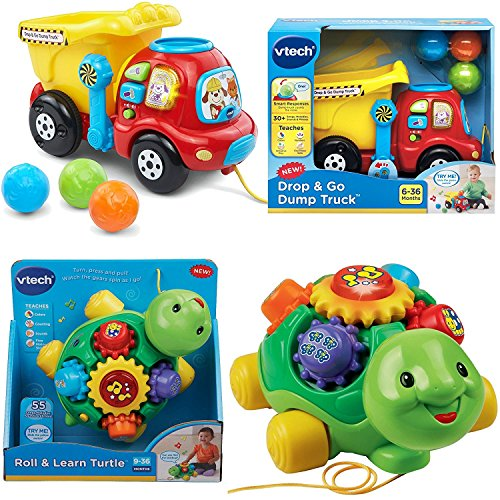 Vtech Drop   Go Dump Truck And Roll   Learn Turtle  2 Piece Bundle