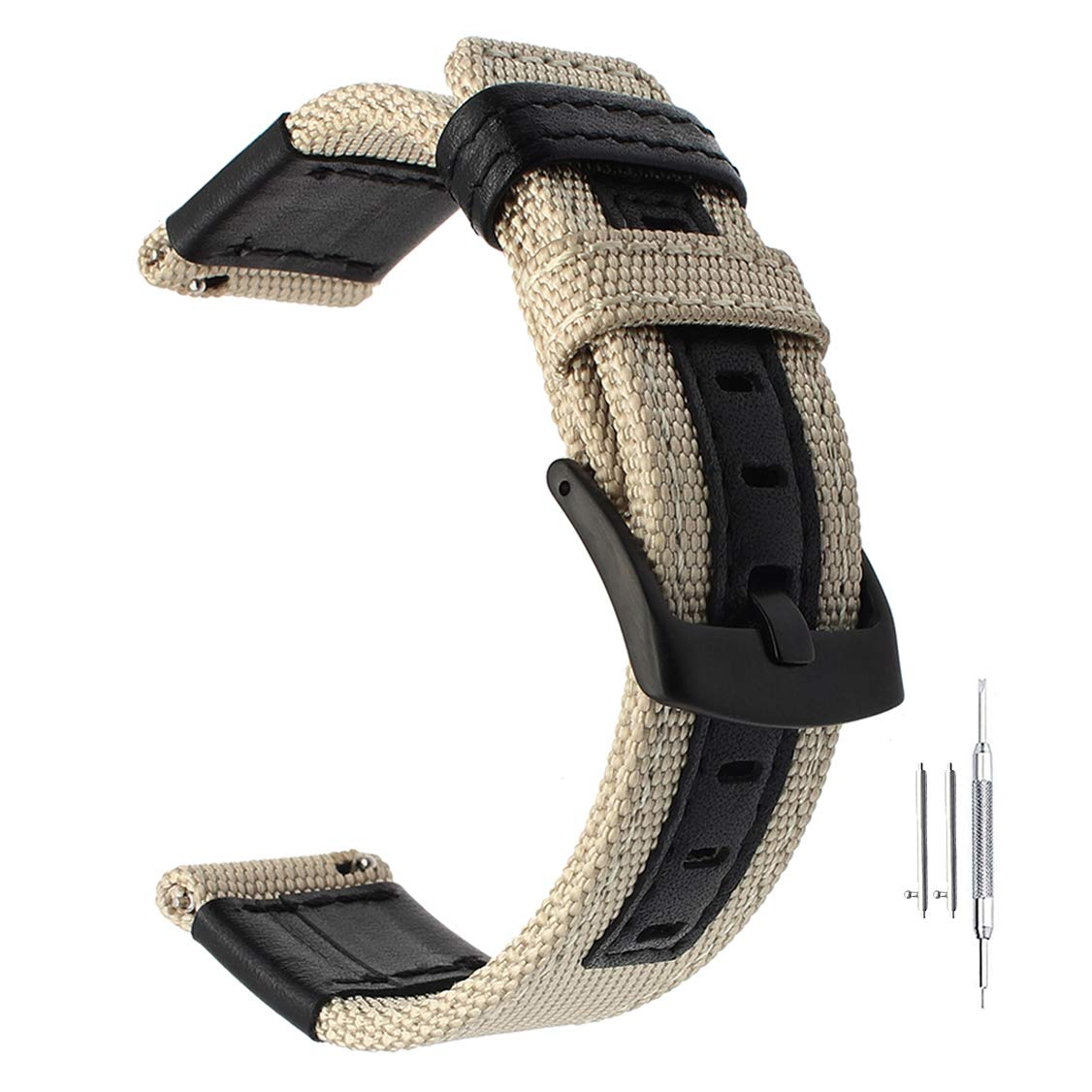 24mm Genuine Nylon & Leather Watchband Quick Release for Suunto Traverse and Any Watches with 24mm Lug Smartwatch
