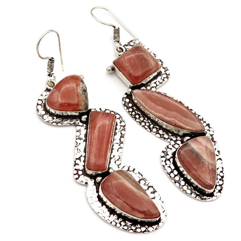 Goyal Crafts Natural Rhodochrosite Gemstone Earring Silver Plated Handmade Fancy Jewelry EB70
