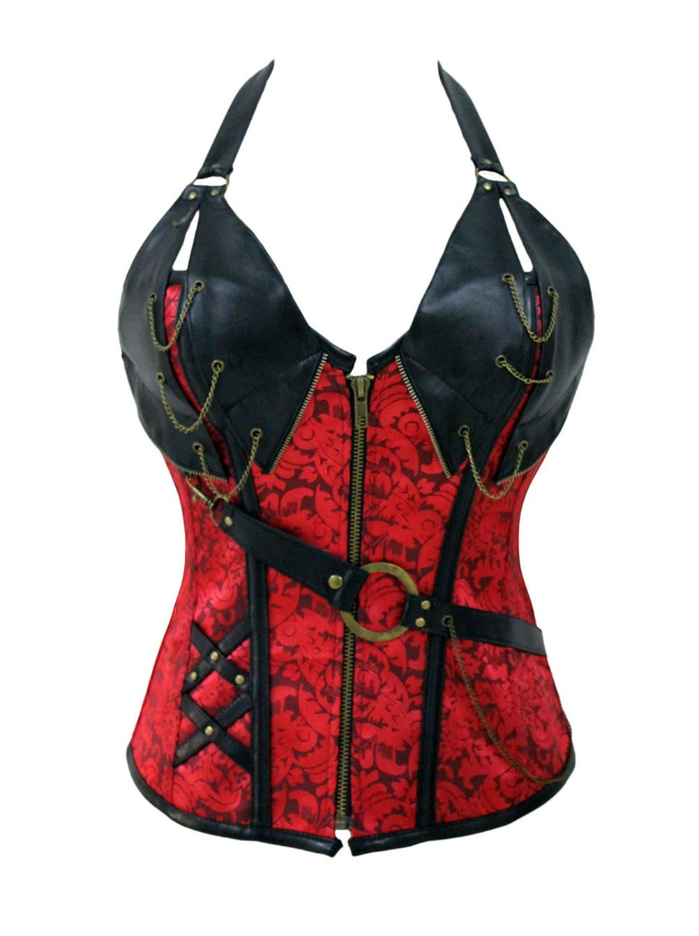 BYY Red 14 Steel Bone Steampunk Leather Corset with Thong(Size,2XL) by BYY
