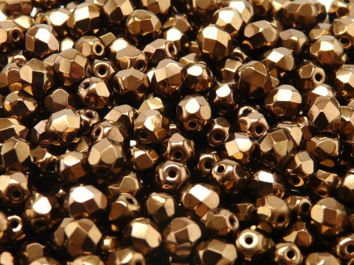 50pcs Czech Fire-Polished Faceted Glass Beads Round 6mm Jet Bronze ()