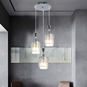 DYRABREST Modern Ceiling Light, 3Head Modern Petal Ceiling 3 LED Light Pendant Lamp Dining Room Chandelier Fixture for Cafe Dining Room Decor