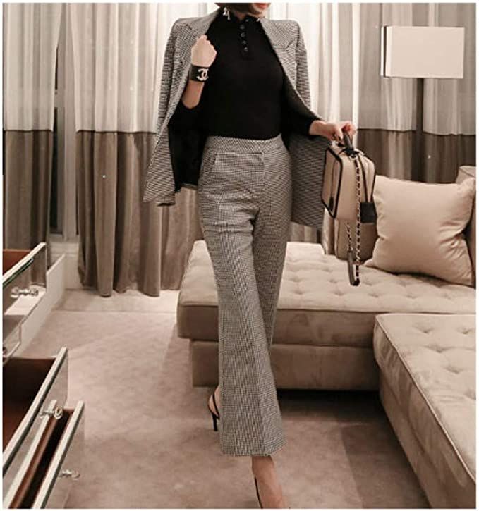 Tailleur Pantalone Scozzese Autunno Moda per Donna Blazer