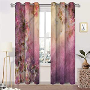 Patio Curtains Art Indoor/Outdoor UV Protectant Grommet Drapes Enchanted Blossom Petals Set of 2 Panels, 84 Width x 96 Length