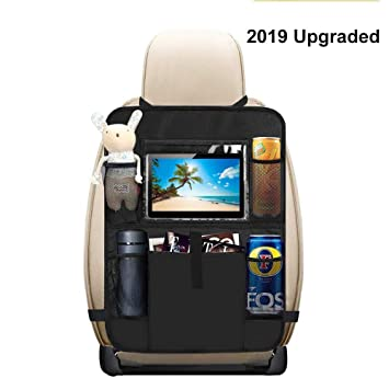 JALIELL Car Back Seat Organizer for Kids Car Organizer Kick Mats with 10 Touch Screen Tablet Holder 2 Pack 9 Storage Pockets Car Back Seat Protector Car Travel Accessories for Toddlers Toys