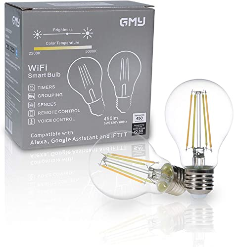GMY Smart Light Bulb WiFi Dimmable A19 Smart Bulbs Compatible