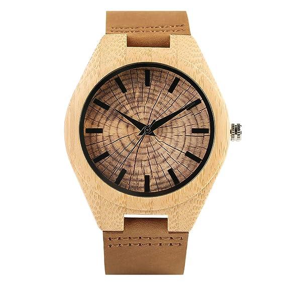 Reloj de bambú, Reloj de Madera Natural, Anillo de Crecimiento Ligero, dial Retro