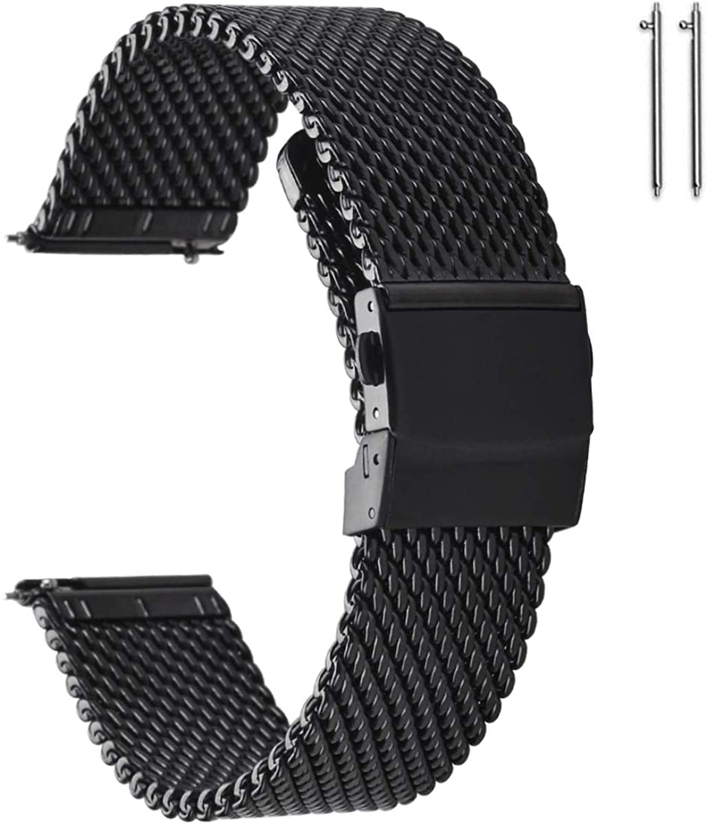 EACHE Stainless Steel Thick Mesh Watch Bands for Mens, Quick Release Adjustable Heavy Duty Mesh Watch Straps 18mm 20mm 22mm