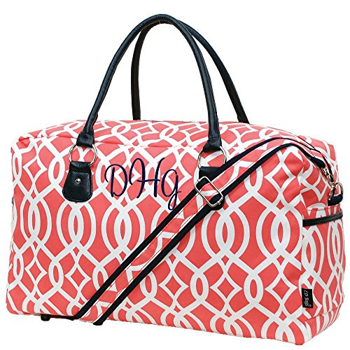 Personalized Tote Overnight Bag (Personalized Overnight Large Travel Duffle Bag Coral Vine with Navy Trim)