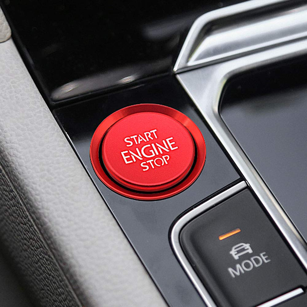 Ceyes Red Engine Start Stop Switch Button Car Push to Start Button Trim Cover Ring Auto Engine Ignition Start Stop Button Ignition Switch Button Sticker for Volkswagen VW CC