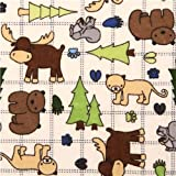 cream moose bear forest animal flannel fabric Riley Blake (per 0.5m multiples)