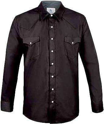 Modestone Mens Fitted Western Camisa Vaquera Black L: Amazon ...