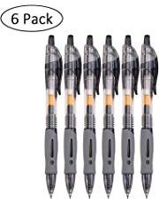 akimy Retractable Premium Gel Ink Roller Ball Pens, Extra Fine Point (0.5mm),6 pieces included,Black