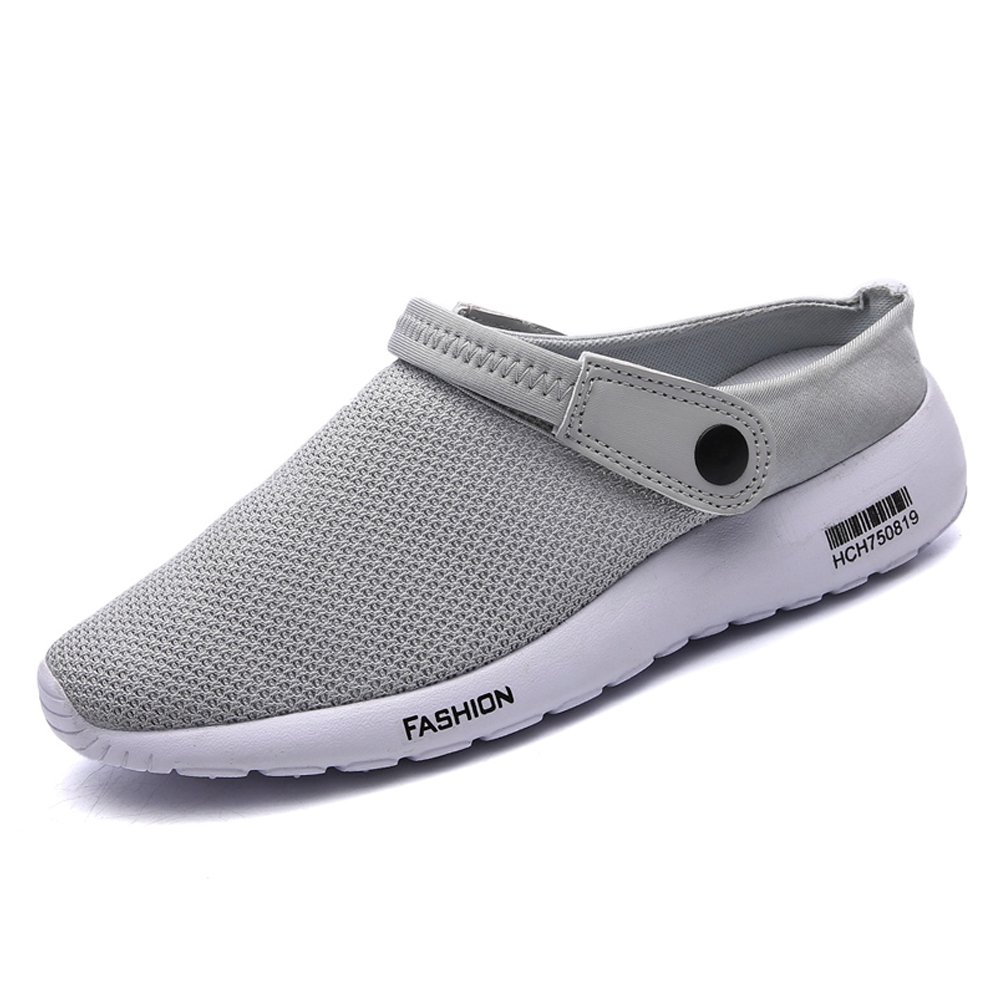 LINGTOM Men's Non Slip Clogs and Mules House Garden Shoes Slippers Sandals,Gray 7