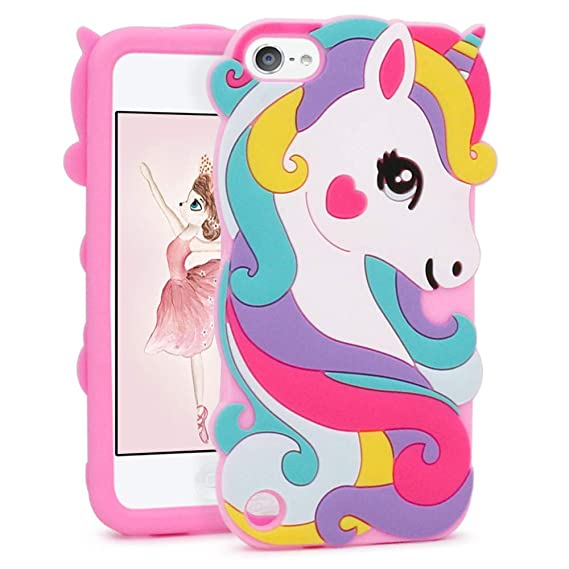 low priced b38e6 827e5 FunTeens Vivid Unicorn Case for Apple iPod Touch 6th 5th Generation 3D  Cartoon Animal Cute Soft Silicone Rubber Protective Cover,Animated Stylish  Cool ...
