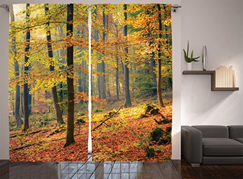 Ambesonne Farm House Decor Collection,Colorful Autumn Forest with Warm Haze of Fog Nature Picture, Living Room Bedroom Curtain 2 Panels Set, 108 X 84 Inches, Olive Green Salmon