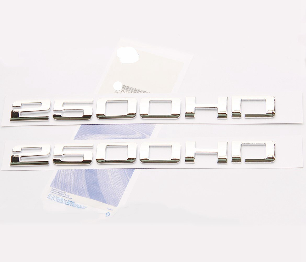 Yoaoo 2pcs OEM 2500HD 2500 HD Nameplates Emblems Badges Glossy for Gm Silverado Sierra Chrome