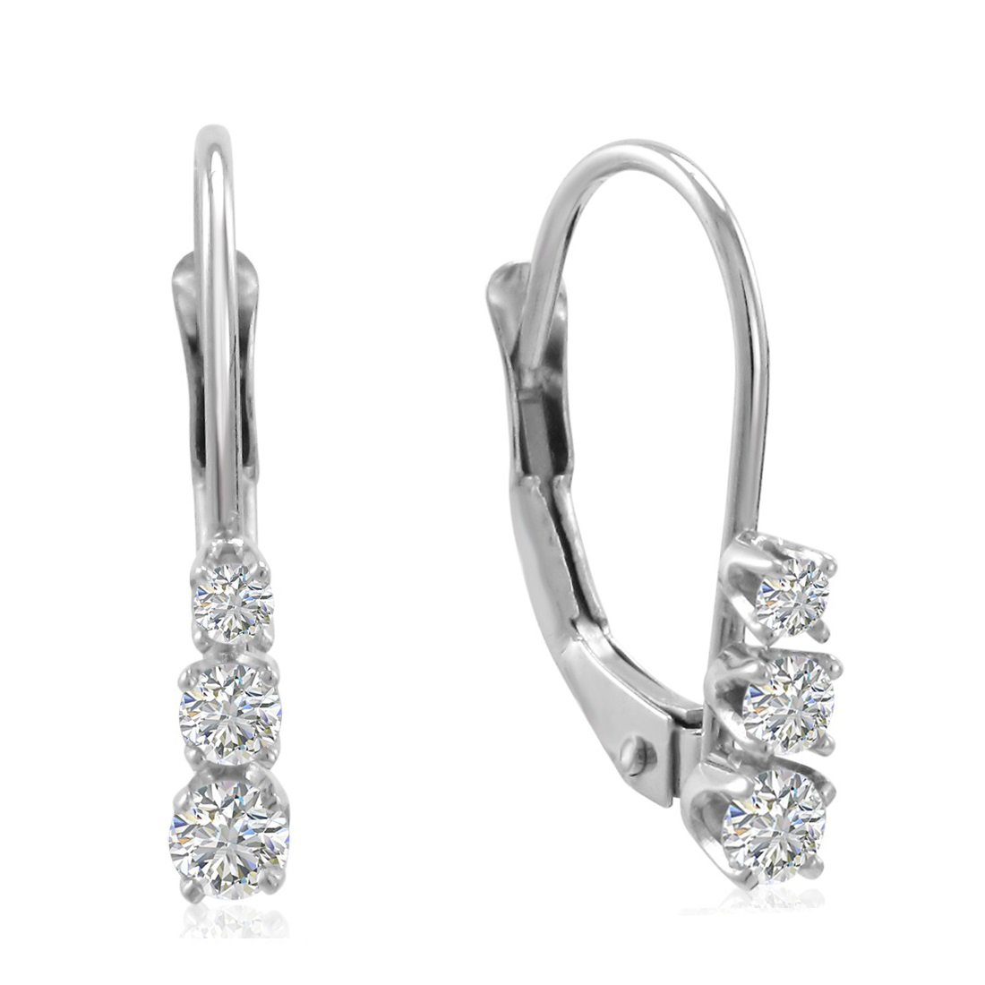 AGS Certified 10K White Gold Three Stone Diamond Leverback Earrings 1/4cttw by Amanda Rose Collection