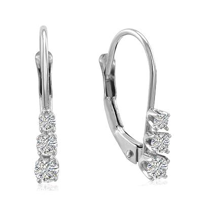 a020267ceaf8de Amazon.com: AGS Certified 10K White Gold Three Stone Diamond Leverback  Earrings 1/4cttw: Dangle Earrings: Jewelry