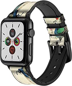 CA0226 Peacock Painting Leather & Silicone Smart Watch Band Strap for Apple Watch iWatch Size 38mm/40mm