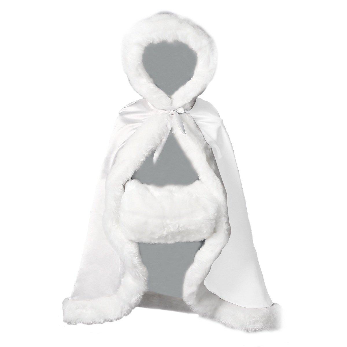 BEAUTELICATE Flower Girl Cape Winter Wedding Cloak for Infant Junior Bridesmaid Hooded Reversible White 32