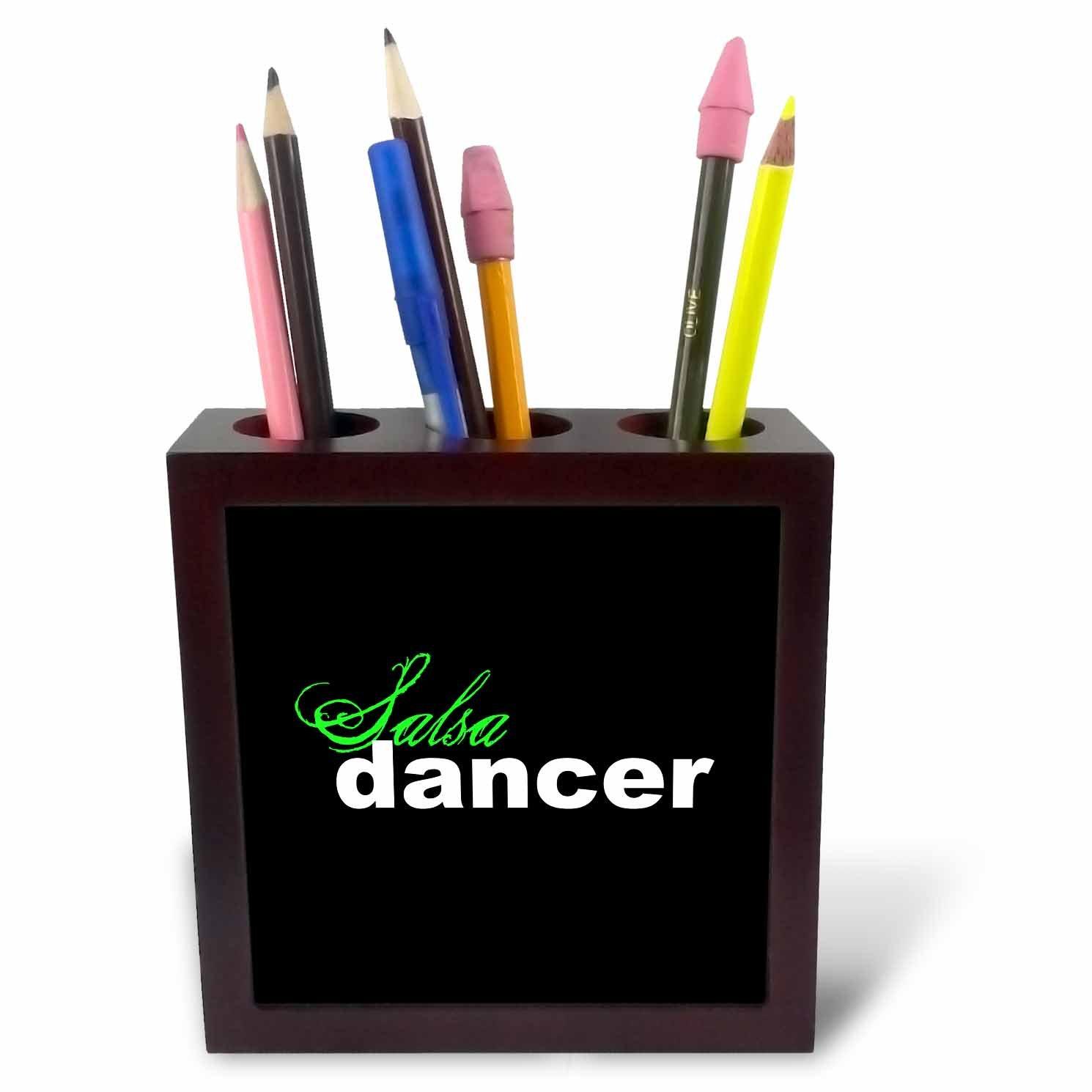 3dRose ph/_16978/_1 Salsa Dancer-Tile Pen Holder 5-Inch