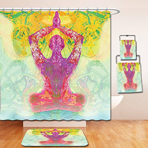 Nalahome Bath Suit: Showercurtain Bathrug Bathtowel Handtowel Mystic House Decor Men In Meditation In Yoga Lotus Position Hands Over The Body Inner Peace Motley Image Multi by Nalahome