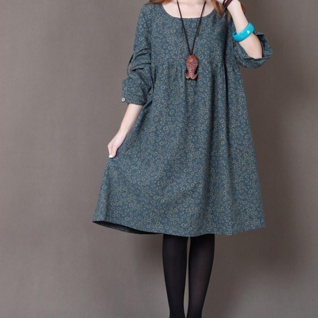 Amazon.com: Teresamoon Women Plus Size Flower Printing Long Sleeves Loose Long Section Dress: Clothing