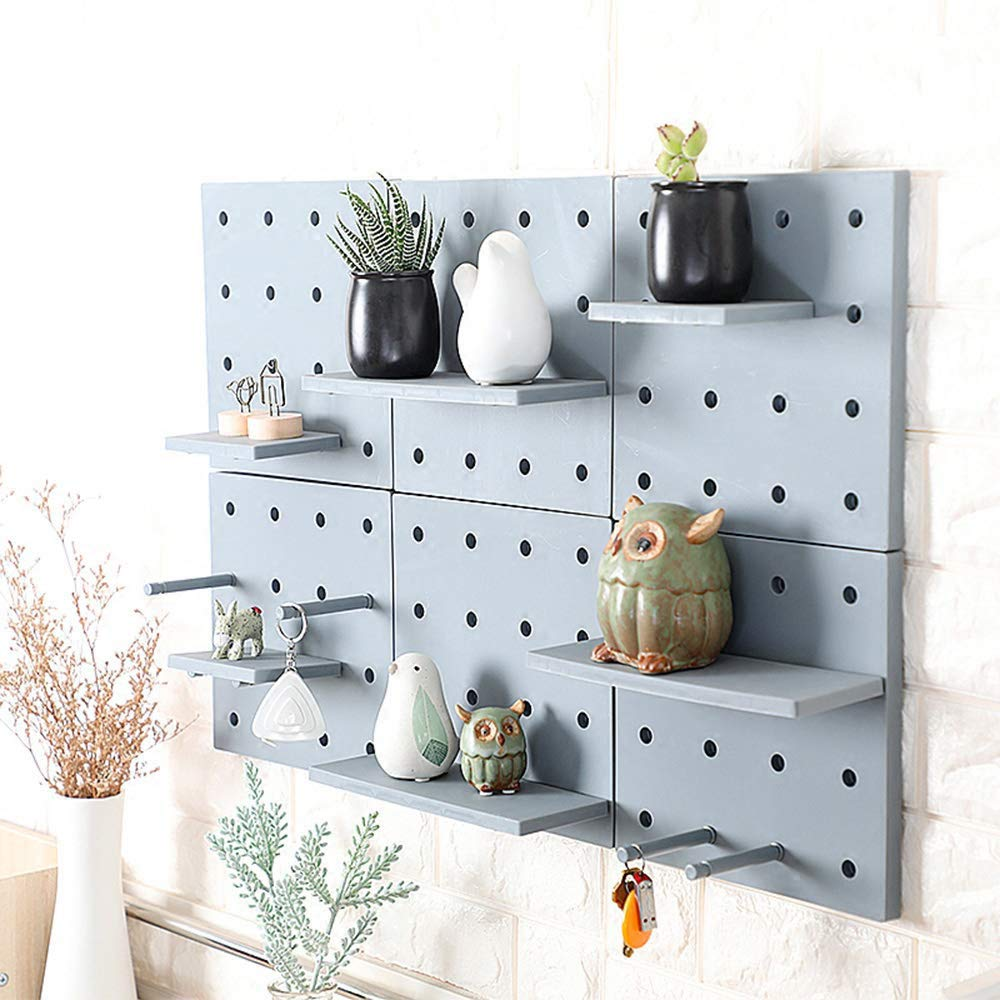 Colored Pegboard Drill-Free Wall Mount Storage Organizer with DIY Floating Shelves Home Décor for Living Room, Entryway, Kitchen, Bathroom and Studio; Grey/Beige; 4pcs/Set (Grey)