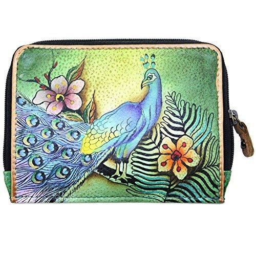 Anuschka Zip Around Credit Card Case Genuine Leather (Prescious Peacocks)