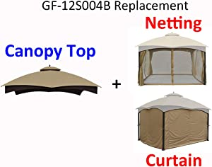 APEX GARDEN Replacement Canopy Top for Lowe's Allen Roth 10X12 Gazebo #GF-12S004B-1 and Mosquito Net + Curtain Set Bundle