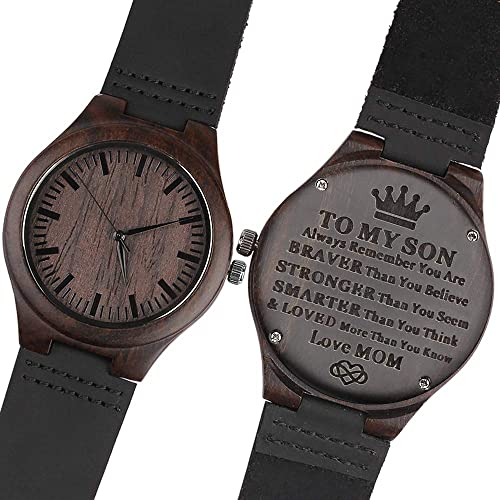 Engraved Wooden Watch for Son Watch Personalized Gift for Son Graduation Gift from Mom, from