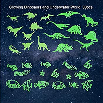 Dinosaurs Glowing in The Darkish & Fish Wall Stickers of The Ocean World Glowing in The Darkish, Darkish Glowing Stickers, 3D Adhesive Wall Stickers for Bed room, Youngsters Room Decor, 33 Items.