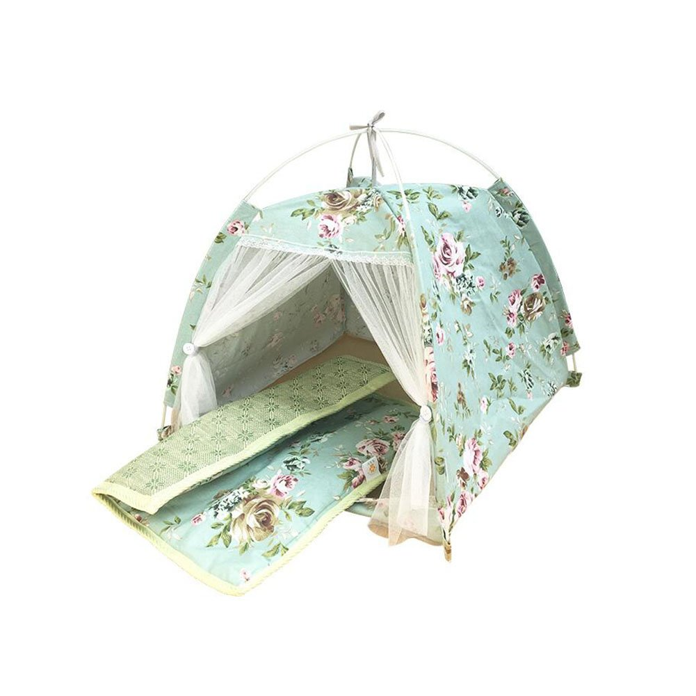 M-5050cm H.ZHOU Dogs and Cats Bed Liners & Mats Summer Cat Nest Fold Kennel Pet Tent Washable Pet Supplies Yurt Cat And Dog House (Size   M-50  50cm)