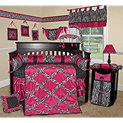 SISI Baby Bedding - Hot Pink, Black and White Zebra 13 PCS Crib Bedding