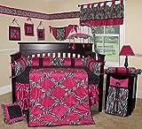 SISI Baby Bedding - Hot Pink Zebra 15 PCS Crib Bedding