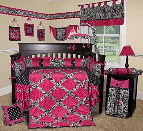 SISI Baby Bedding - Hot Pink Zebra 13 PCS Crib Bedding