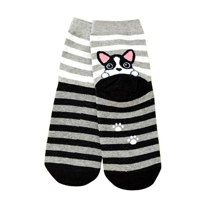 Holacha Kawaii Calcetines de algodón de la historieta gato a rayas Huellas de gato 3D animales