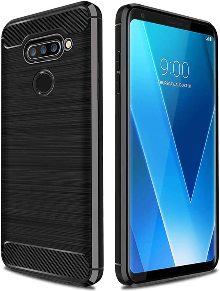ASMART LG V40 ThinQ Case, LG V40 Case, Shock Absorption LG V40 ThinQ Phone Case Slim TPU Cover Flexible Bumper Carbon Fiber Protective Case for LG V40 ThinQ (Black)