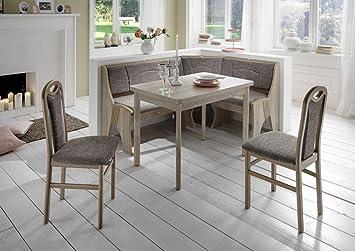 Scouts Eckbankgruppe Talia II, Buche Natur Dekor Eckbank Tisch 2 Stühle  Grau