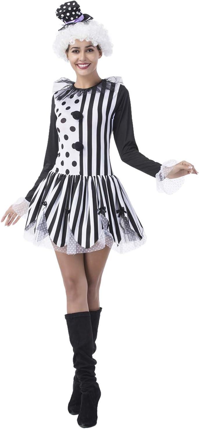 MingoTor Mujer Circo Director Disfraz Traje comodín Joker Negro ...
