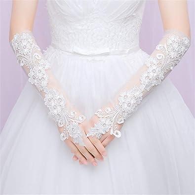 d1060a6b3e1 Braut Handschuhe lang lang lang lang Hochzeit Brautpaar ganze Finger Spitze  Flora Crochet Oper-Länge