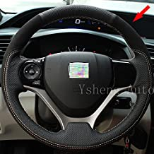 Eiseng DIY Leather Suede Steering Wheel Cover Wrap for Honda Civic 2012 2013 2014 2015 Do It Your Self (Black leather+black nano suede)