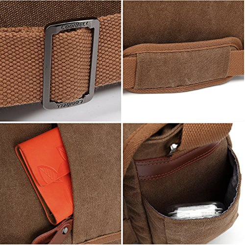 CoolBELL Messenger Bag 15.6 Inch Canvas Briefcase Vintage Shoulder Bag Laptop Case Mens Handbag Business Briefcase Multi-Functional Travel Bag for Men/Work / College/Student (Coffee) by CoolBELL (Image #6)