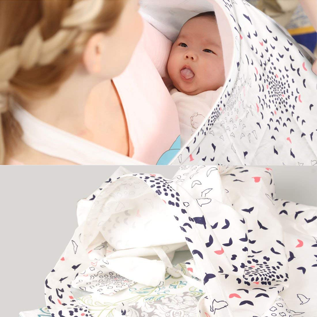 XTD Nursing Cover Seamless Breathable Breastfeeding Apron with Pockets, 100/% Natural Soft Cotton Breastfeeding Cover Adjustable Neck Strap and Boning