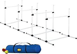 CHEERING PET Dog Jumps Set, Dog Agility Training Equipment, 4 Adjustable Bar Jumps for Dogs