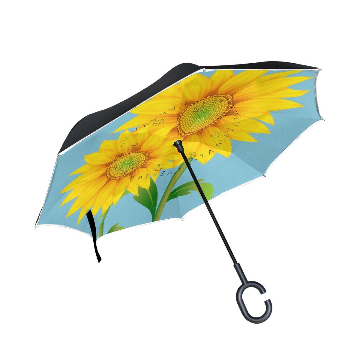 Double Layer Inverted傘雨太陽またはトラベル傘防風UV保護Big Straight傘軽量ポータブルアウトドアゴルフ傘C型ハンドル内部2つひまわり B07BHDWZ33