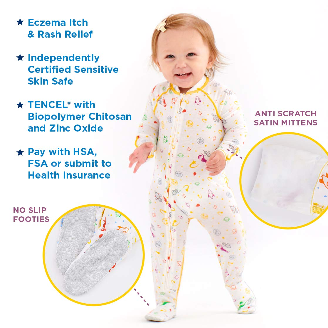 0e86489da774 Amazon.com  Eczema Sleepsuit for Babies - Itch Relief for Moderate to  Severe Baby Eczema with No Scratch Mitts - Onesies for Babies - Also - Used  as Wet ...